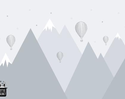 טפט הרים גאומטרי וכדורים פורחים אפור