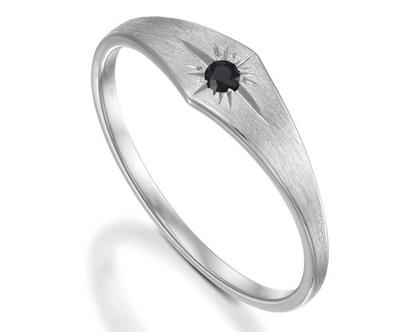 טבעת ויקינג זהב משובץ יהלום שחור