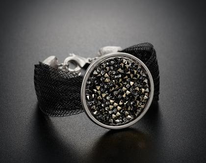צמיד שחור גדול ,קל ומרשים , קריסטלים סברובסקי צבע כסוף זהב