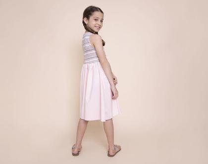 שמלה חגיגית משולבת סריג פסים וחצאית ורודה.שמלת ולרי מסתובבת