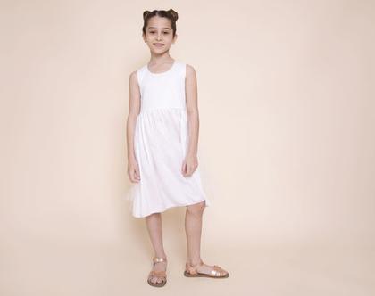 שמלת קורל לבנה עם טול לבן