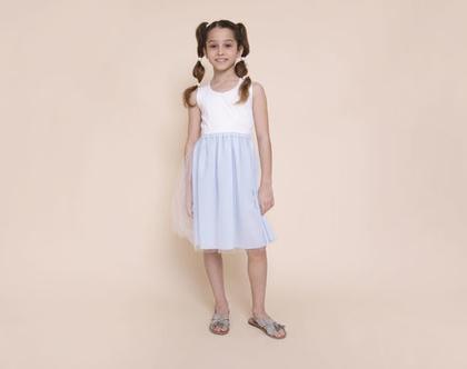 שמלת ולרי תכלת משולבת טול