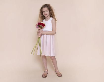 שמלת שושבינה לילדה עם עם טול לבן - שמלת ולרי ורוד לבן
