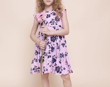 שמלת קומות פרחונית לילדה , נטלי בפרחים כחולים על רקע ורוד