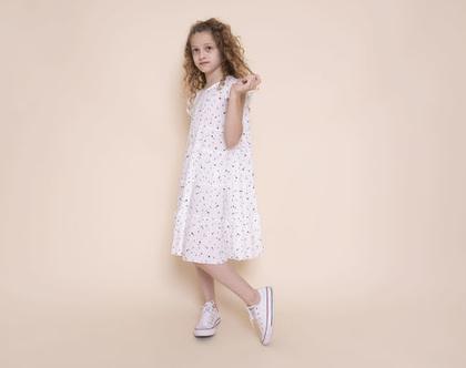 שמלת קומות לבנה עם כוכבים לילדה , נטלי קומות לבנה עם כוכבים קטנים שחורים.