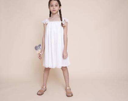 שמלת A בשיפון בפסי זהב על רקע שמנת- שמלת סיגלית