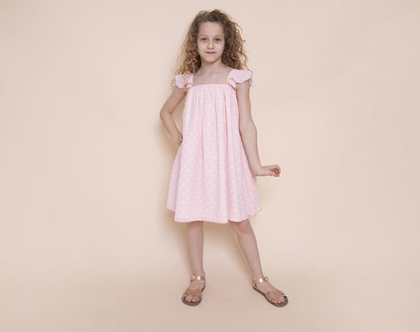 שמלת A בשיפון נקודות בשמנת על רקע ורוד- שמלת סיגלית נקודות