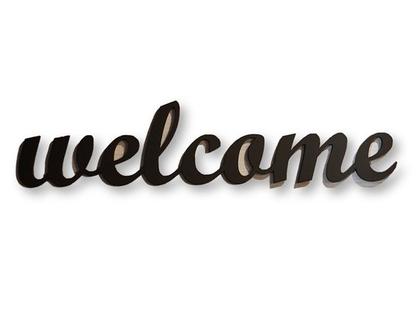 שלט welcome בצבע פחם