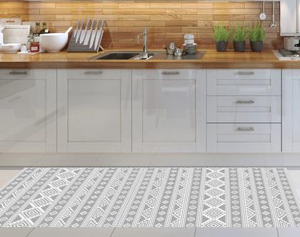 שטיח פי.וי.סי - Nordic design-3| שטיח PVC | עיצוב נורדי | שטיחי PVC| שטיחים מעוצבים| שטיח למטבח| שטיחים לבית|שטיח אפור לבן