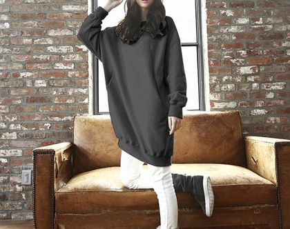 Celmia Plus מידות גדולות נשים סווטשירט 2019 חורף חם חולצה Pullovers ליידי חולצות כיסים משוחרר מקרית
