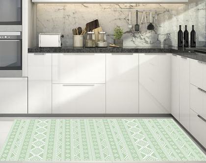 שטיח פי.וי.סי - Nordic design-5| שטיח PVC | עיצוב נורדי | שטיחי PVC| שטיחים מעוצבים| שטיח למטבח| שטיחים לבית|שטיח ירוק ולבן