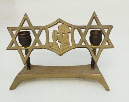 פמוטים לנרות שבת עם מגן דוד וינטג' אמיתי עשויים פליז נרות שבת פמוטים מעוצבים