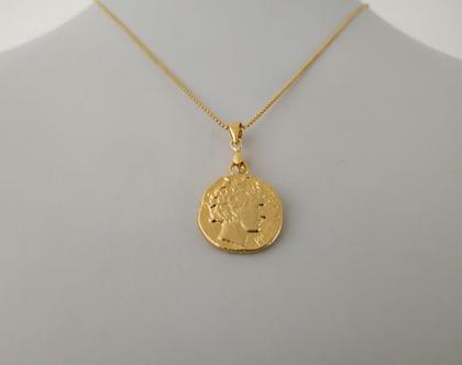 תליון מטבע רומי // שרשרת זהב קצרה // תליון מטבע // שרשרת מתנה // תכשיט עכשבי // מתנה לחברה