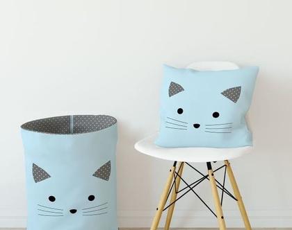 סל כביסה חתול תכלת/ סל איחסון/ סל לצעצועים/ סל משחקים/ סל מבד לאיחסון/ סל איחסון מבד/סל למשחקים