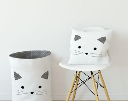 סל כביסה חתול לבן/ סל איחסון/ סל לצעצועים/ סל משחקים/ סל מבד לאיחסון/ סל איחסון מבד/סל למשחקים