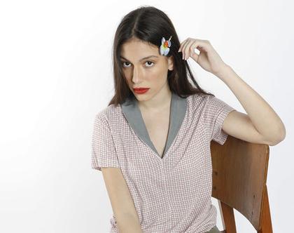 חולצת קיץ צבעונית עם שרוול קצר