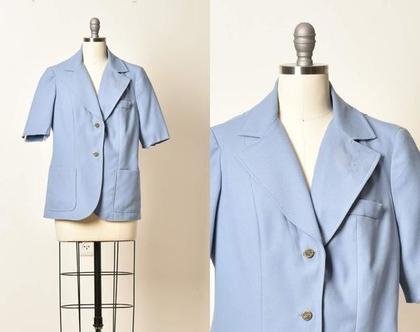 בלייזר לנשים, בלייזר תכלת, בלייזר שרוול קצר, ג'קט קצר, בלייזר וינטג', ג'קט וינטג', ג'קט כחול, ג'קט עם כיסים, מידה M