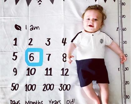 שמיכת צילום לתינוק / שמיכת תיעוד השנה הראשו / שמיכת חודשים / צילומי ניו בורן /שמיכה לתיעוד חודשי התינוק / מתנת לידה מקורית
