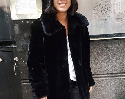 מעיל פרווה, מעיל פרווה שחור, מעיל לנשים, מעיל פרווה סינתטית, מעיל פרווה לא אמיתית, מידה M, מעיל מחמם, מעיל חורפי, מעיל פרווה וינטג'