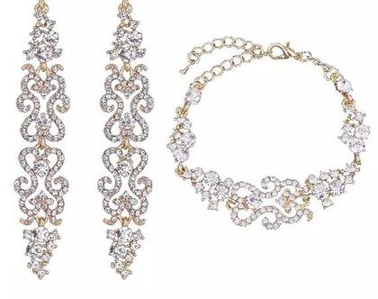 סט תכשיטים לאישה, צמיד אישה, עגילים לאישה, מתנה לאישה, סט תכשיטים לכלה, לחתונה