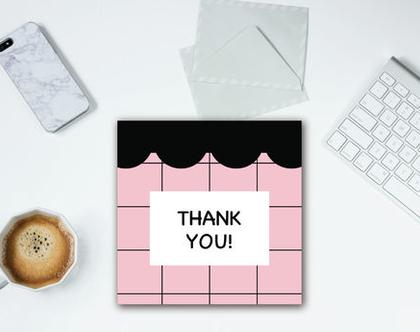 סט 5 כרטיסי ברכה ״THANK YOU״ רשת ורודה