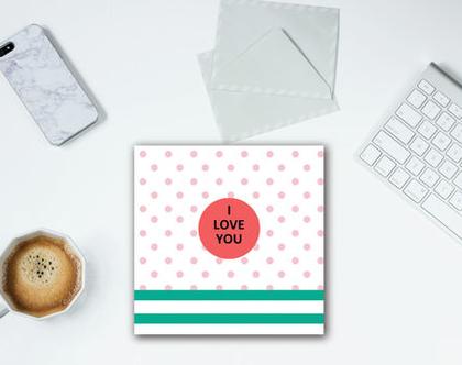 סט 5 כרטיסי ברכה ״I LOVE YOU״ אבטיח