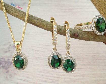 סט תכשיטים זהב משובצים עם אבן חן / סט דיאנה / זרקונים בצבע אמרלד / שרשרת זהב / טבעת זהב / עגילי זהב משובצים
