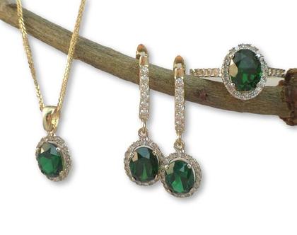 שרשרת זהב משובצת עם אבן חן / שרשרת תליון דיאנה / זרקון בצבע אמרלד / שרשרת דגם דיאנה / תכשיטים לאירוע / שרשרת אמא של הכלה