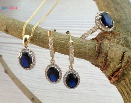 סט תכשיטים זהב משובצים עם אבן חן / סט דיאנה / זרקונים בצבע ספיר / שרשרת טבעת עגילי זהב משובצים / סט תכשיטים לאירוע