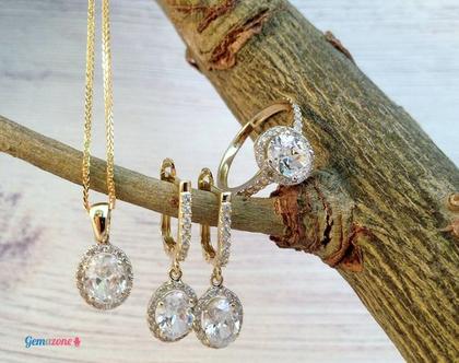 סט תכשיטים יוקרתי לכלה / תכשיטי זהב משובצים עם זרקונים לבנים / דגם דיאנה / שרשרת זהב / טבעת זהב / עגילי זהב משובצים
