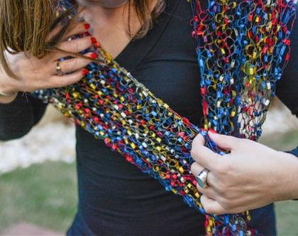 צעיף דק לאישה בצבעים חזקים