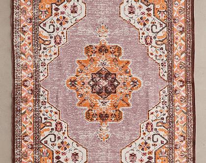 שטיח כותנה בסגנון וינטאג׳ עדכני, שטיח ורוד, שטיח כתום