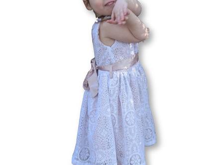 שמלה תחרה לילדה   שמלה לבנה לילדה   בטנה ורודה משתקפת חגורה מבריקה -לייסי