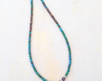 שרשרת אבני חן ותליון - שרשרת קריסוקולה ותליון אגט - שרשרת בצבעי טורקיז וחום - שרשרת מיוחדת