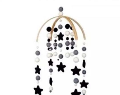 מובייל לחדרי ילדים | מובייל כוכבים | מוביל קשתות עץ |מובייל עם שם הילד |מובייל בעבודת יד |