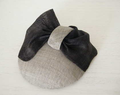 SPECIAL EVENT HAT ISRAEL- CUSTOM MADE HAT - GREY FASCINATOR