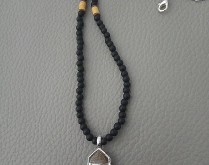 שרשרת חץ מחרוזים שחורה וחומה לגבר - שרשרת שחורה לגברים - תכשיטים מחרוזים לגבר