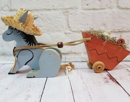 קישוט עץ חמור סוחב עגלה - קישוט סגנון קנטרי - קישוטי עץ