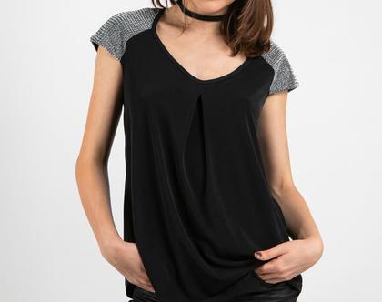 חולצת ערב שחורה רחבה-דגם סימור