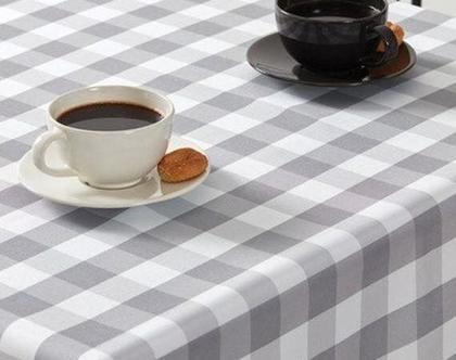 מפת שולחן משובצת מידות לבחירה בצבעי אפור לבן