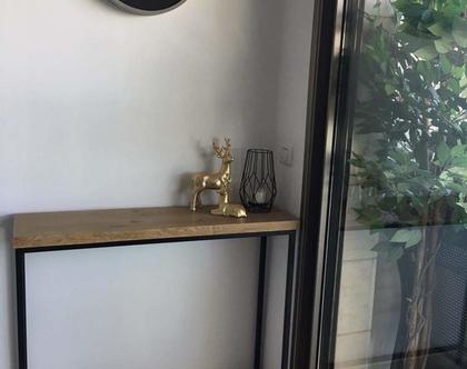 קונסולת כניסה | שידת כניסה | קונסולה בשילוב עץ וברזל | שידת ברזל