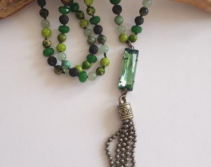 שרשרת קשירות בשילוב אבנים ירוקות