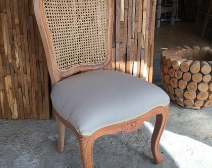 כיסא אוכל עץ מלא גב רשת וינאית