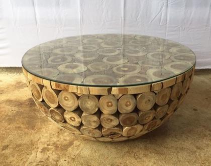 שולחן סלון בולי עץ טיק