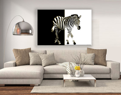 תמונת קנבס - Abstract Zebra| תמונה של זברה | עיצוב נורדי | תמונה שחור לבן | תמונה לסלון | תמונה לבית