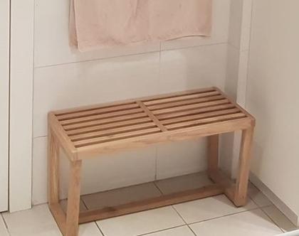 ספסל/שולחן נלסון אלון מעץ אלון עם רגלי טרפז | ספסל לפינת אוכל | ספסל לאמבטיה | ספסל לחדר שינה | ספסל פסנתר