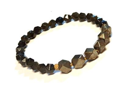 צמיד אבנים יוניסקס פיריט זהוב ואובסידאן שחור מוזהב טבעיות לגבר או לאישה, צמיד נמתח, תכשיטים לאיזון אנרגטי