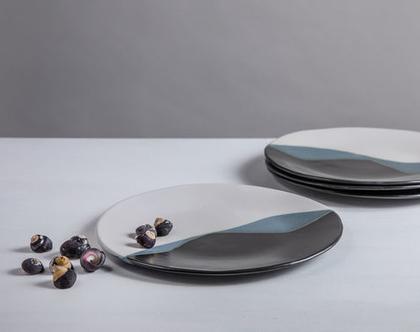 סט של 4 צלחות גדולות מקרמיקה בצבע שחור לבן