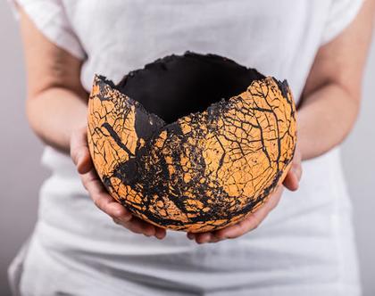 עציץ כדורי מעוצב ענק מקרמיקה בצבע שחור כתום   קערה מקרמיקה  