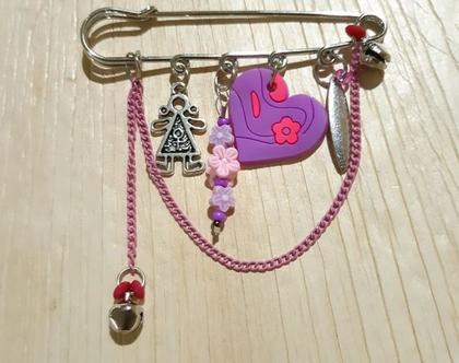 סיכה לעגלת תינוקת ורוד-סגול, סיכה מקורית, סיכה מעוצבת, סיכה מיוחדת, מתנת לידה, מתנה מקורית, מתנה ליולדת
